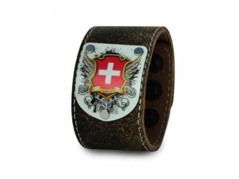 Armband trachtenbraun mit Schweiz Wappen