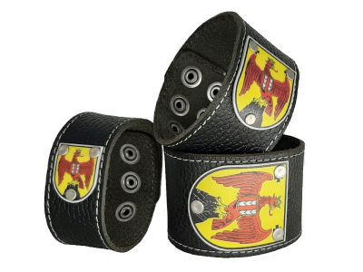 Armband mit Burgenland Wappen Leder schwarz