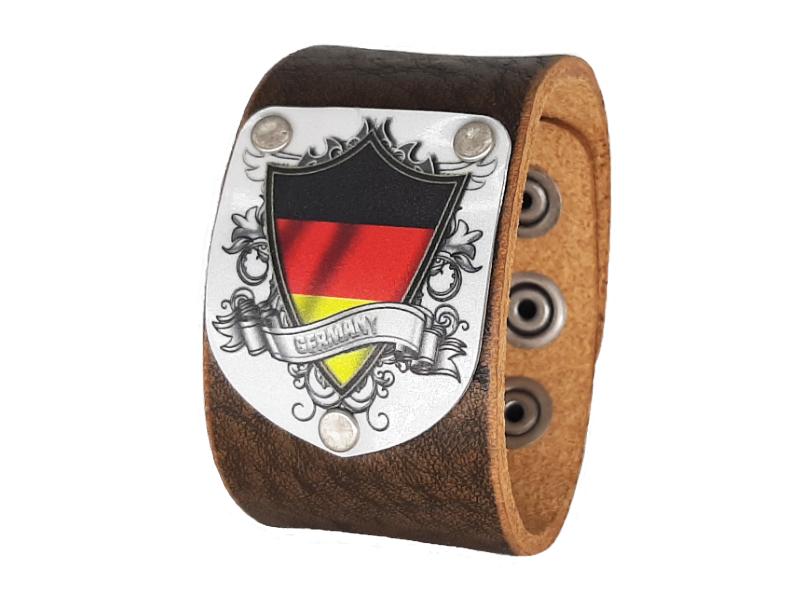 Lederarmband Deutschland Vintage braun 4cm breit
