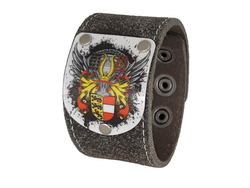Armband Kärnten Flügale mit rustico grau Leder