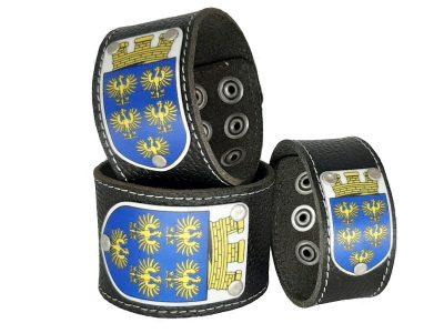 Lederarmband mit Niederösterreich Wappen aus schwarzem Leder