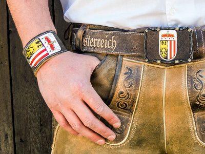 Lederarmband mit Oberösterreich Wappen Rustico trachtenbraun