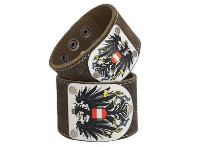 Lederarmband Österreich mit Adler Trachtenbraun