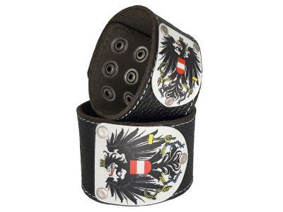 Lederarmband Österreich Leder schwarz mit Wappen