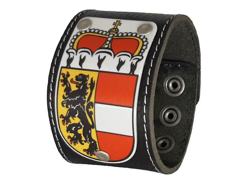 Armband Salzburg Leder schwarz 5cm mit Wappen