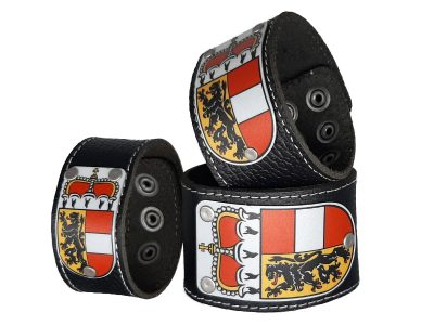 Salzburger Armband Leder schwarz mit Salzburg Wappen
