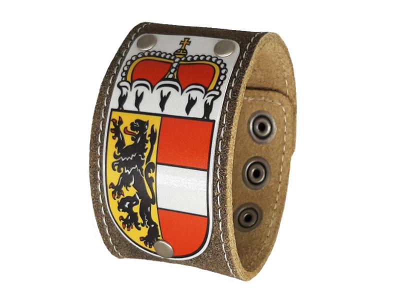 Armband Salzburg mit Wappen Rustico Trachtenbraun 4cm