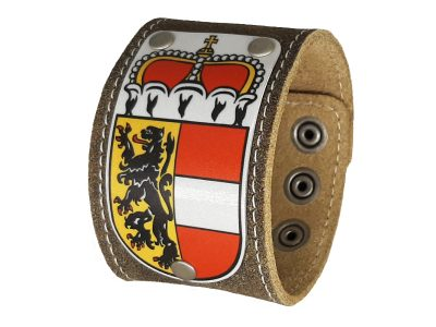 Lederarmband mit Salzburg Wappen Trachtenbraun