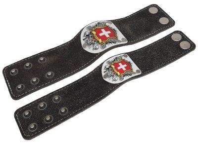 Lederarmband mit Schweiz Wappen und Leder Silbergrau