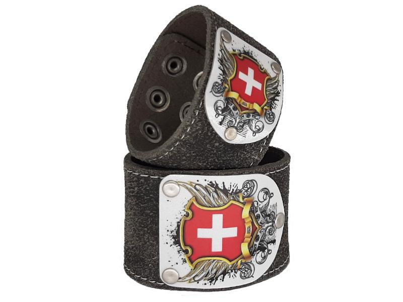 Armband Schweiz mit Schweiz Wappen Silbergrau 5cm breit