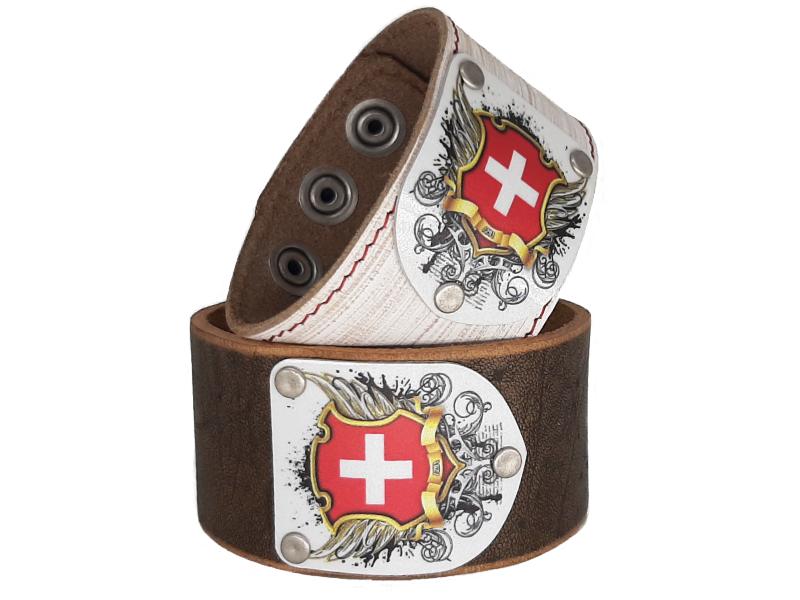 Lederarmband Vintage mit Schweiz Wappen