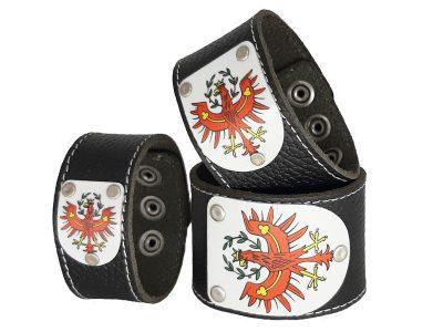 Armband Tirol Leder schwarz mit Wappen