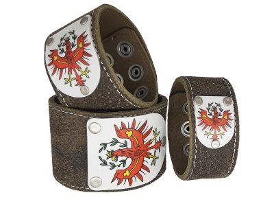 Armband Tirol Rustico Trachtenbraun mit Tirol Wappen