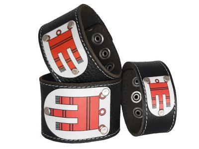 Armband mit Vorarlberg Wappen Leder schwarz