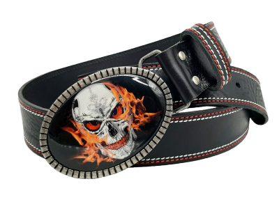 Gürtel für Biker mit Totenkopfschnalle Skull on fire Doppelnaht