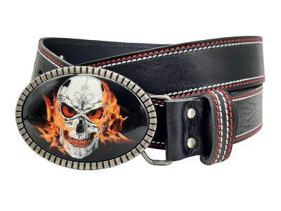 Ledergürtel für Biker Skull on fire doppelnaht