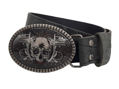 Ledergürtel mit Biker Gürtelschnalle Buckle Skull Blaster