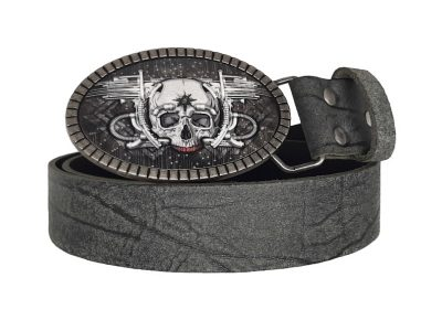 Bikergürtel Skull Blaster mit Totenkopf Gürtelschnalle