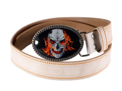 Bikergürtel Skull on Fire weiss