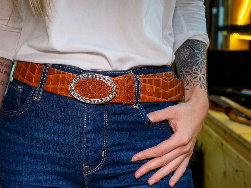 Damengürtel Tucson Croco Strass Fotoshooting
