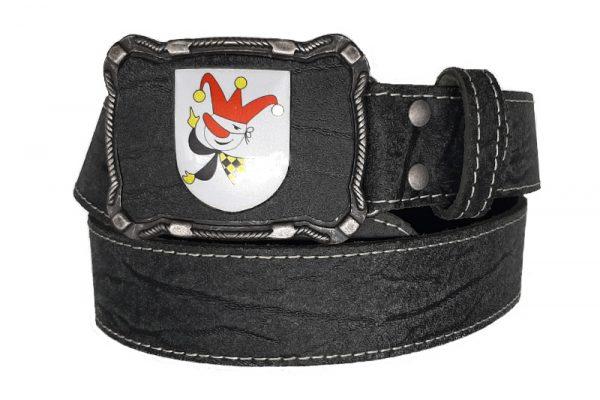 Ledergürtel schwarz mit Gürtelschnalle Villacher Fasching