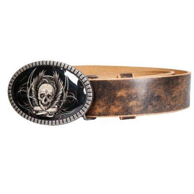 Bikergürtel Iron Skull mit Totenkopf Buckle