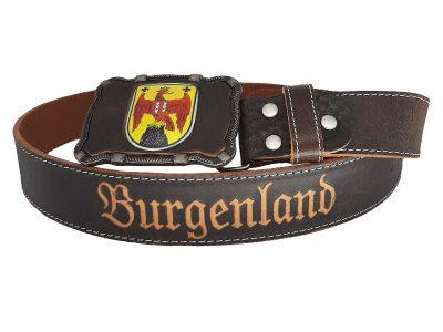 Ledergürtel mit Burgenland Wappen Deluxe