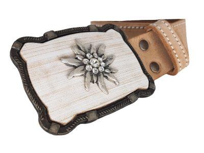 Trachtengürtel für Damen mit Edelweiss Kristall Gürtelschnalle