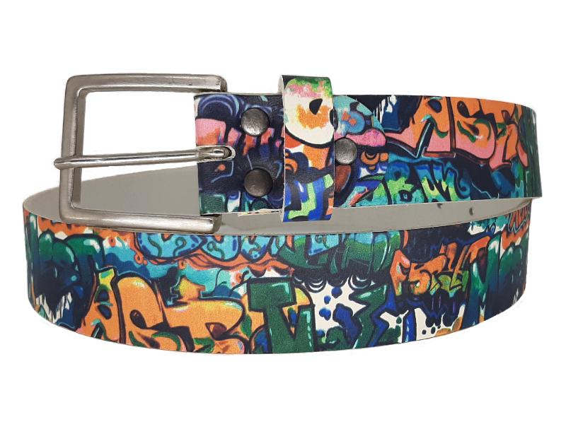 Damengürtel mit Graffiti Leder und Dornschnalle