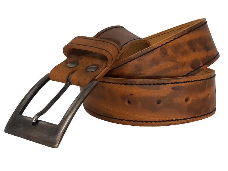Ledergürtel für Damen Safron erdig mit Dornschnalle
