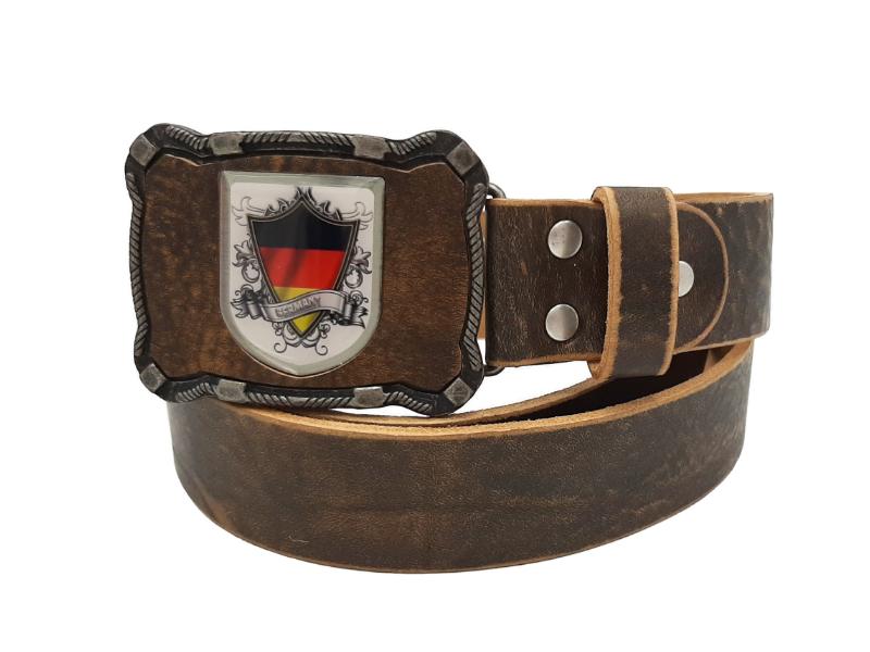 Ledergürtel Deutschland rustikal braun mit Wappen