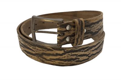 Herrengürtel Wood silber mit Dornschließe