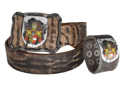 Ledergürtel Kärnten Antik Bull mit Kärnten Armband