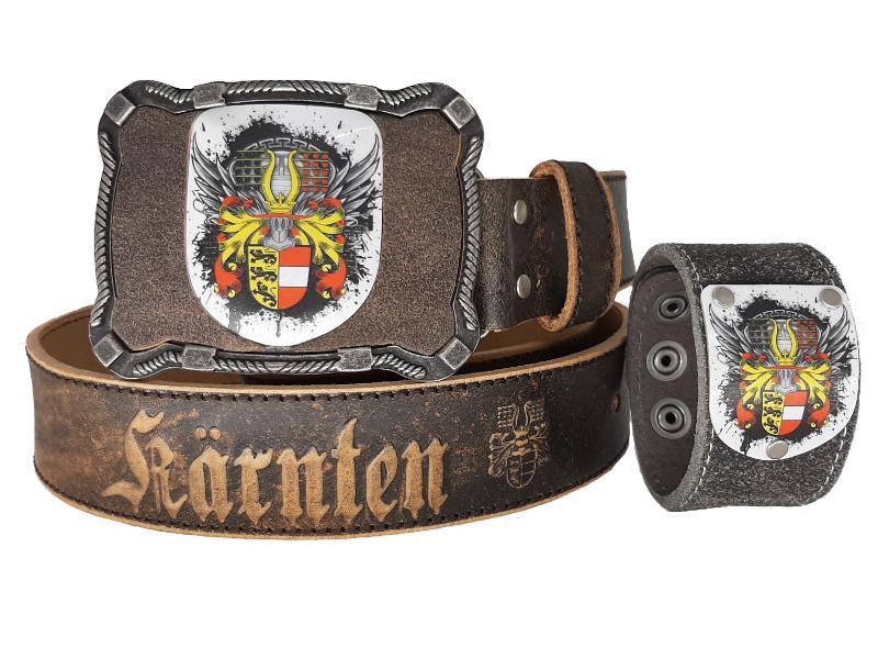 Ledergürtel Kärnten Flügale mit Kärnten Armband