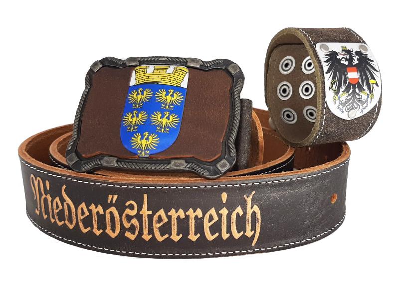 Ledergürtel Niederösterreich Deluxe mit Österreich Armband