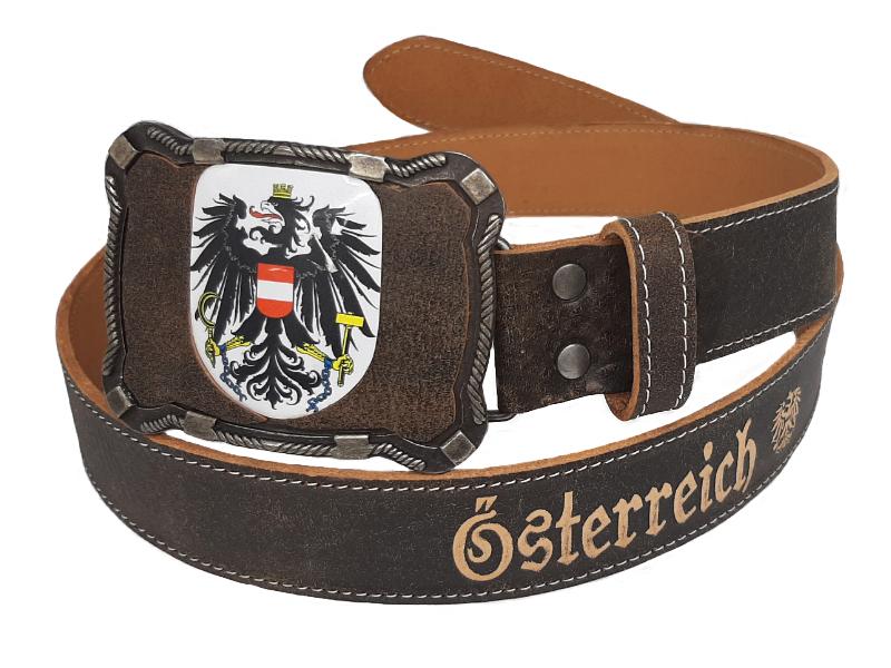 Ledergürtel Österreich Deluxe mit Wappen