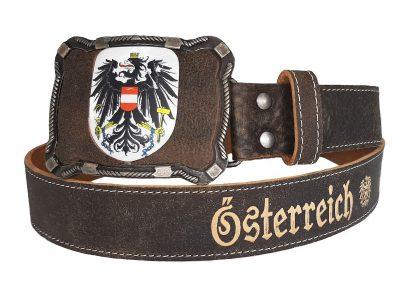 Österreich Gürtel Deluxe mit Lederprägung