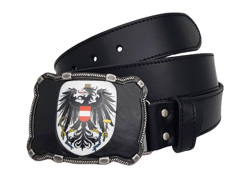 Ledergürtel Österreich Leder schwarz und Österreich Adler