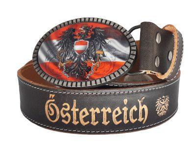 Ledergürtel Österreich Premium Rot