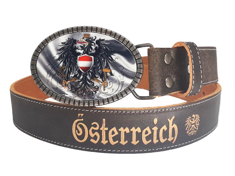 Ledergürtel Österreich premium Silber