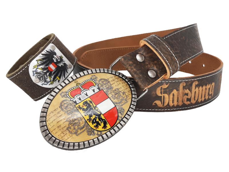 Salzburg Gürtel Premium mit Gratis Österreich Armband