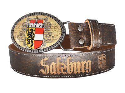 Gürtel mit Salzburg Wappen und Lederprägung