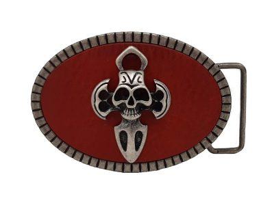 Gürtelschnalle Totenkopf Metall Skull rot