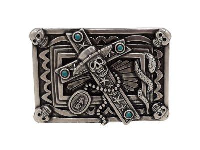 Gürtelschnalle Buckle mit Totenkopf und Kreuz
