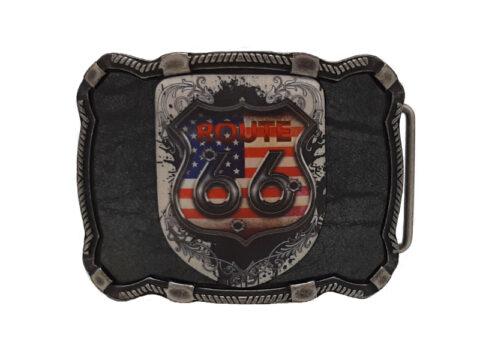 Gürtelschnalle für Biker mit Route 66 Emblem