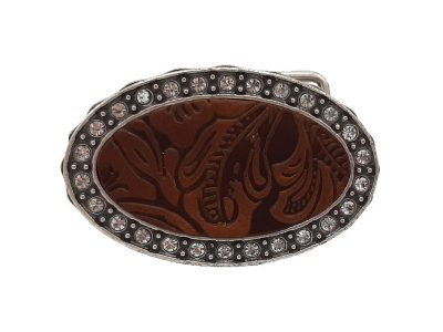 Gürtelschnalle für Damen mit Strass Steine und Charro Ledereinlage