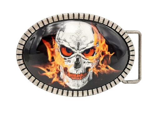 Gürtelschnalle Totenkopf Skull on Fire