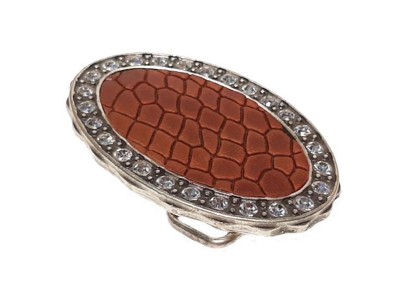 Gürtelschnalle für Damen mit Leder Tucson und Strass Steine