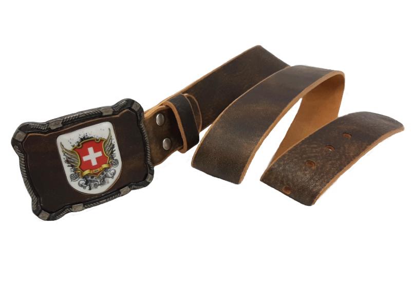 Ledergürtel Schweiz rustico mit Schweiz Wappen