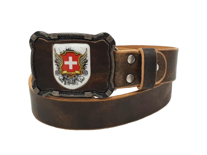 Ledergürtel Wappen Schweiz rustico braun